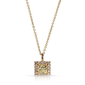 GIA Certified Diamond Necklace in 14K Yellow Gold W-X VS2 1.38 CTW