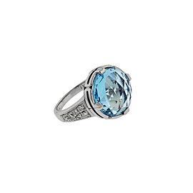 Bvlgari Parentesi diamond & blue topaz ring in 18k white gold size 7