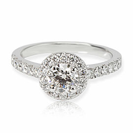 Halo Diamond Engagement Ring in Platinum GIA Certified I IF 0.86 CTW