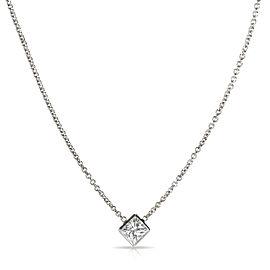 GIA Certified Princess cut Solitaire Diamond Necklace G VS1 0.72 Ct
