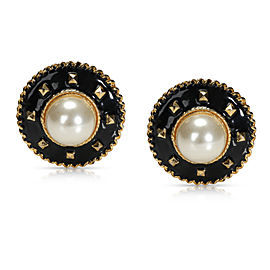 Chanel Vintage Black Enamel & Cultured Mabe Pearl Clip-on Earrings
