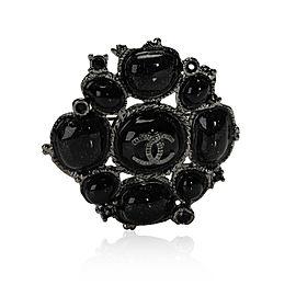 Chanel Black Glitter Gripoix Byzantine Costume Brooch