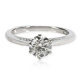 GIA Certified Tacori Diamond Engagement Ring in 18K White Gold J I1 0.85 CTW