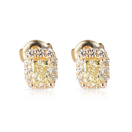 GIA Fancy Yellow Diamond Stud Earrings in 14K Yellow Gold (1.85 ctw FY/VS1-VS2)