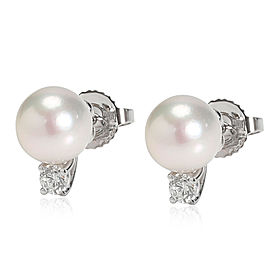 Tiffany Signature Pearl and Diamond Earrings in 18K White Gold 0.18 CTW