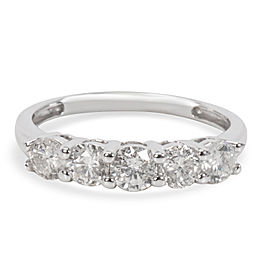 Five Stone Diamond Wedding Band in 14Kt White Gold 1.00 CTW
