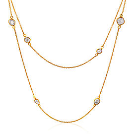 Rock & Divine Dawn Collection Lily Pad Diamond Necklace 18K Yellow Gold 1.6 CTW