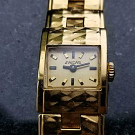 Ladies Enicar 15mm Gold-Plated Cocktail Dress Watch c.1960s Swiss DX26