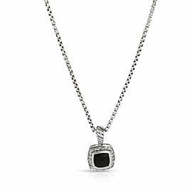 David Yurman Albion Onyx Diamond Necklace in Sterling Silver Black 0.17 CTW