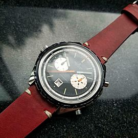 Mens Breitling Chronomatic 48mm Day Date Automatic Chronograph c.1970s LV226RED