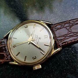 Mens Zenith 33mm 18k Gold Bumper Automatic Dress Watch, c.1950s Vintage LV855