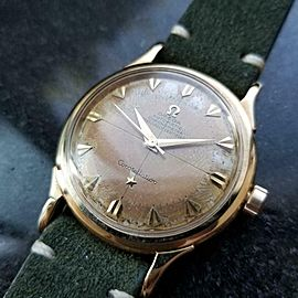 Mens Omega Constellation 35mm 14k Gold Automatic, c.1950s Swiss Vintage LV666GRN