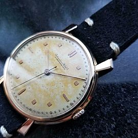 Mens IWC Schaffhausen 36mm 18K Rose Gold Hand-Wind, c.1960s Swiss Vintage LV898