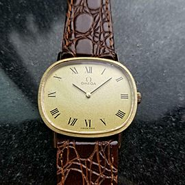 Mens Midsize Omega cal.620 33mm 14k Gold Hand-Wind Dress Watch, c.1970s LV75BRN