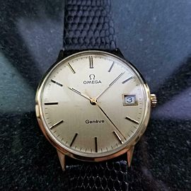 Mens Vintage Omega Geneve 35mm 14k Gold Hand-Wind w/Date, c.1970s LV790BLK