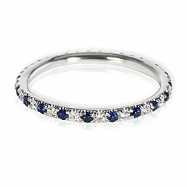 Sapphire & Diamond Eternity Band in 14K White Gold Blue 0.22 CTW