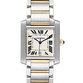 Cartier Tank Francaise Steel Yellow Gold Automatic Mens Watch W51005Q4