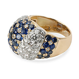 Vintage Tiffany & Co. Domed Diamond Sapphire Ring in 18K Yellow Gold 2.5 CTW