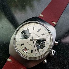 Mens Breitling Datora Ref.592 38mm Hand-Wind Chronograph c.1960s Swiss LV897RED