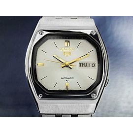 Mens Seiko 5 35mm Stainless Steel Day Date Automatic, c.1980s TD632