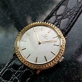 Mens Midsize Omega 31mm 14K Gold Hand-Wind Dress Watch, c.1960s Swiss MS202BLK
