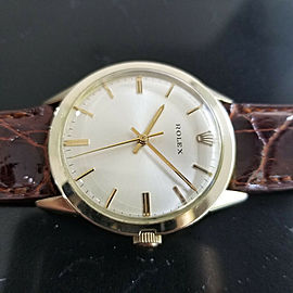 Mens Rolex 7002 35mm 14k Gold-Filled Automatic Dress Watch c.1970s w/Paper MA196