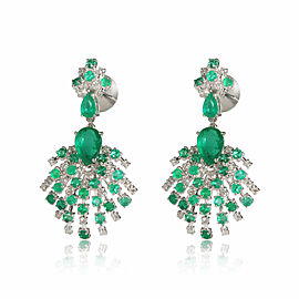 Diamond and Emerald Starburst Earrings in 18Kt White Gold 0.81 CTW