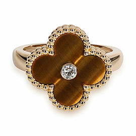 Van Cleef & Arpels Alhambra Tiger Eye Ring in 18K Yellow Gold 0.05 CTW