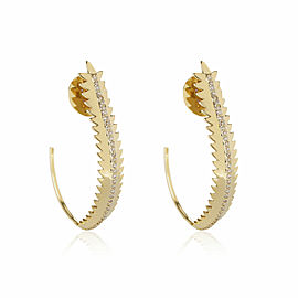 Open Feather Diamond Hoop Earrings in 18K Yellow Gold 0.38 CTW