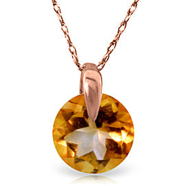 0.8 CTW 14K Solid Rose Gold Sundisk Citrine Necklace