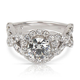GIA Certified Diamond Halo Engagement Ring in 14K White Gold (1.02 ct G/VS2)