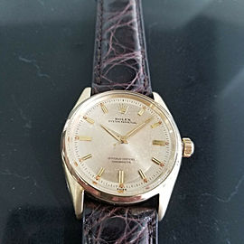 Mens Rolex Oyster Perpetual 6564 34mm 14k Gold Automatic, c.1950s Swiss RA150