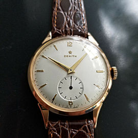 Mens 1960s Zenith 37mm 18k Solid Rose Gold Manual Wind Dress Vintage Watch MA167