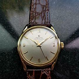 Mens Zenith 33mm 18k Solid Gold Bumper Automatic 1950s Dress Watch Vintage LV855