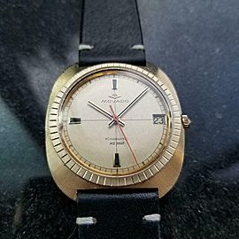 Mens Movado Kingmatic HS360 35mm 14k Solid Gold 1960s Automatic Date LV437BLK