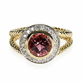 David Yurman Cable Ring with Diamonds & Tourmaline in 18K Yellow Gold 0.21 CTW