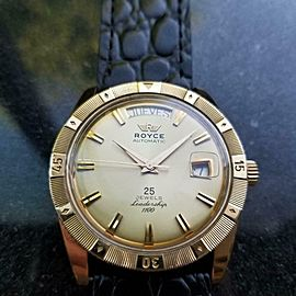 Mens Royce 1970s Leadership 1100 Vintage Jumbo 38mm Gold Capped Automatic LV846