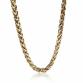 Braided Chain with Green Chalcedony Accents 14K Yellow Gold