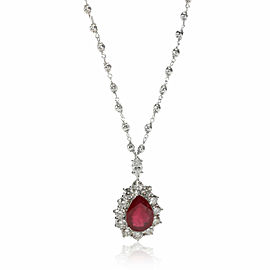 Diamond & Glass Filled Ruby Necklace in 18K White Gold 3.67 CTW