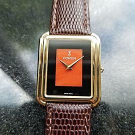 Ladies Corum 26mm 18K Solid Gold 1980s Manual Onyx Coral Swiss Dress Watch LV495