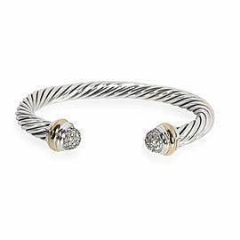 David Yurman Cable Classic Diamond Cuff in 18K Gold & Sterling Silver 0.49 ctw