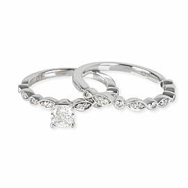 Helzberg Diamond Engagement Ring Set in 10KT White Gold GIA G SI1 0.62 CTW