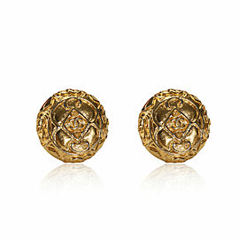 Chanel Vintage Gold Tone Button Earrings