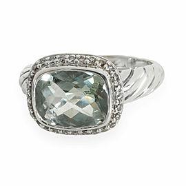 David Yurman Noblesse Prasiolite Diamond Ring in Sterling Silver 0.15 C
