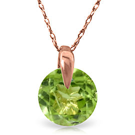 1 CTW 14K Solid Rose Gold Necklace Natural Peridot