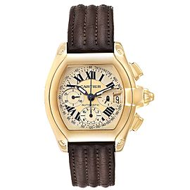 Cartier Roadster Chronograph XL 18K Yellow Gold Mens Watch W62021Y3