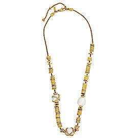 "FRED PARIS ""Baie Des Anges"" 18k Y Gold Diamond Pearl Necklace"