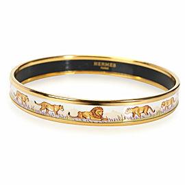Hermes Pink Savannah & Lion Wide Gold Plated Bangle