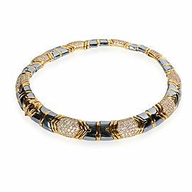 Bulgari Parentisi Diamond & Hematite Necklace in 18K Yellow Gold 11.51 CTW