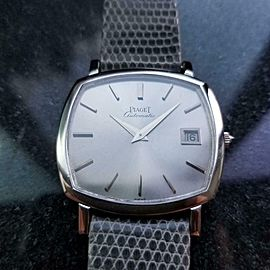 Mens Swiss Piaget 33mm 18k White Gold 1970s Automatic w Date Swiss LV866GRY